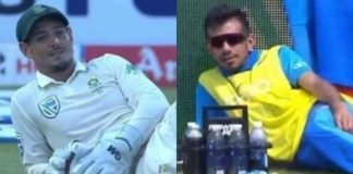 Quinton de Kock and Yuzvendra Chahal laying on the ground in two seperate photos