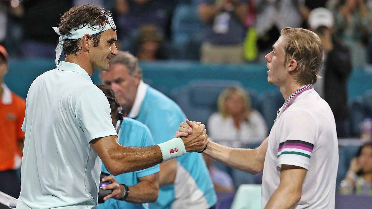 Roger Federer and Denis Shapovalov at Miami Open 2019