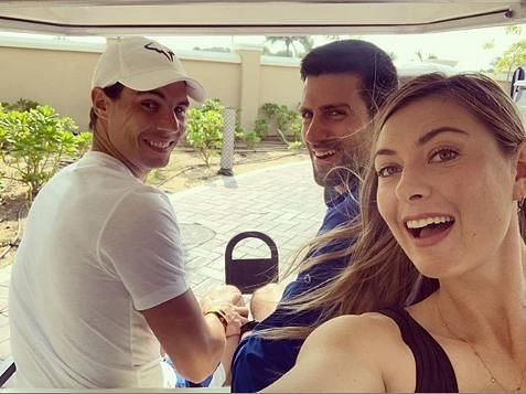 Maria Sharapova, Rafael Nadal and Novak Djokovic shared a selfie