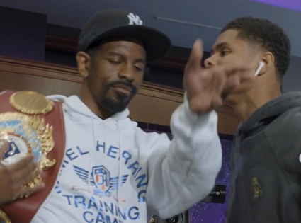 VIDEO: Jolly Face-Off Becomes Intense as Shakur Stevenson Tries to Steal Jamel Herring's Belt