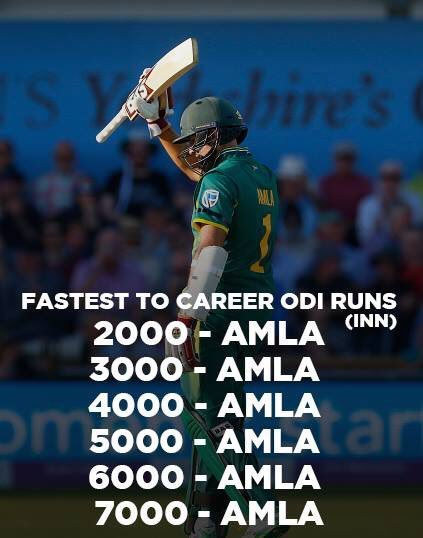 Hashim Amla holds the record for the fastest to 2000, 3000, 4000, 5000, 6000 and 7000 ODI runs