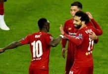 Liverpool players Sadio Mane, Mohamed Salah and Roberto Firmino