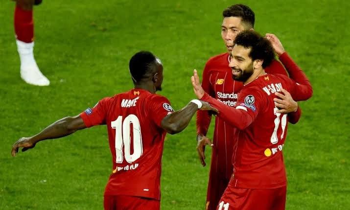 Liverpool players Sadio Mane, Mohamed Salah and Roberto Firmino