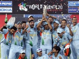 MS Dhoni's Indian team with the inaugural ICC T20 World Cup in 2007