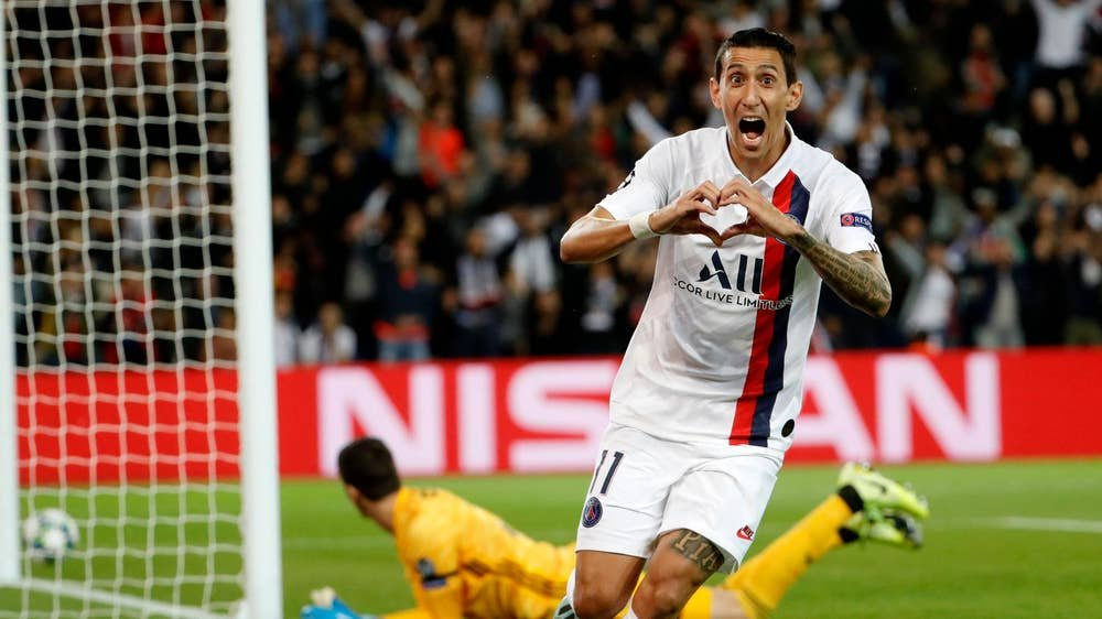 Angel Di Maria celebrating after scoring against Real Madrid in the UEFA Champions League