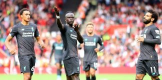 Sadio Mane celebrating the goal against Southampton