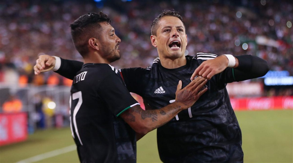 Javier Hernandez aka Chicharito celebrating his goal against USA