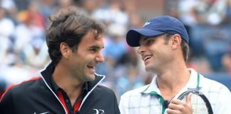 Roger Federer and Andy Roddick (AP Photo/Peter Kramer)