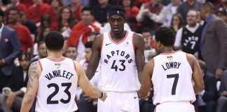 Fred VanVleet, Pascal Siakam and Kyle Lowry from the Toronto Raptors roster